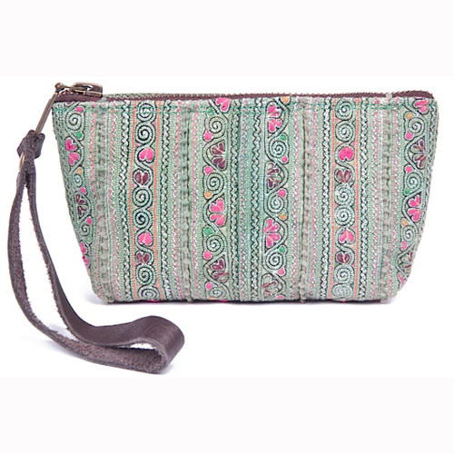 Mimi Green Small Wristlet  Bag - Upcycled Materials