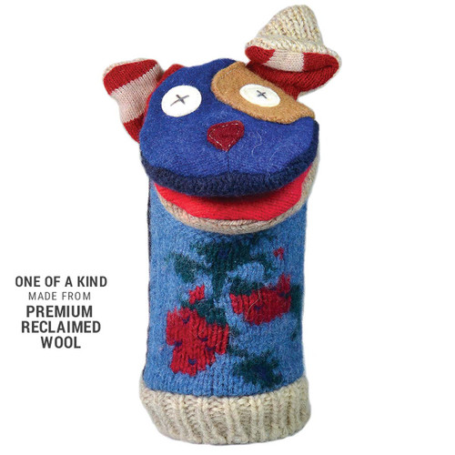 Animal Puppet-Handmade-Reclaimed Vintage-Wool-Dog
