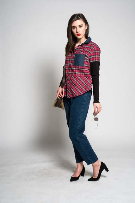 Frances Button Down Shirt-Black & Red - Eco Vintage Fabrics