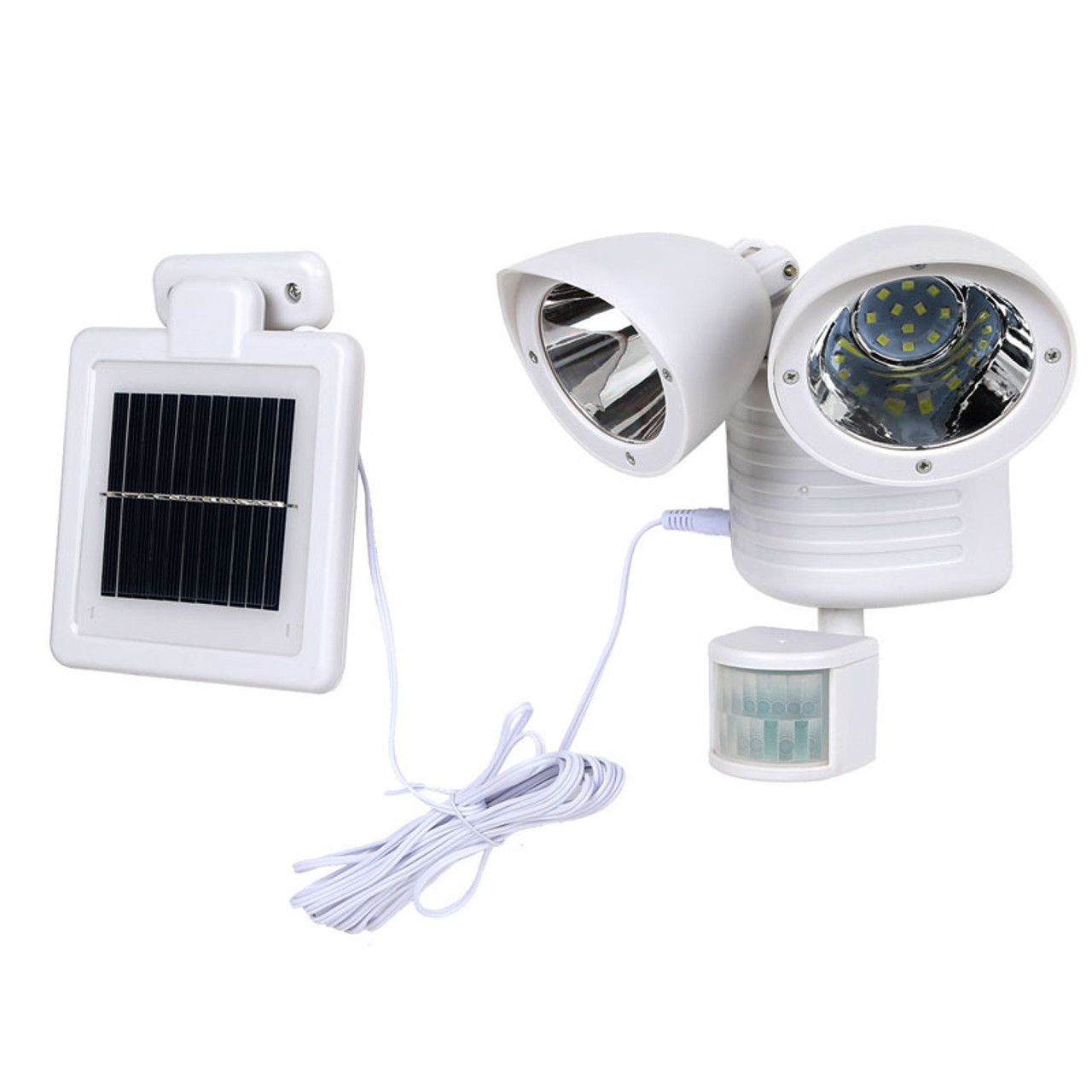 Led Solar Outdoor Security Twin Head Floodlight 3 Watts With Light Sensor Solar Charger Motion Activated Ip65 5000 Kelvin 5 Year Warranty White Led Global Supply