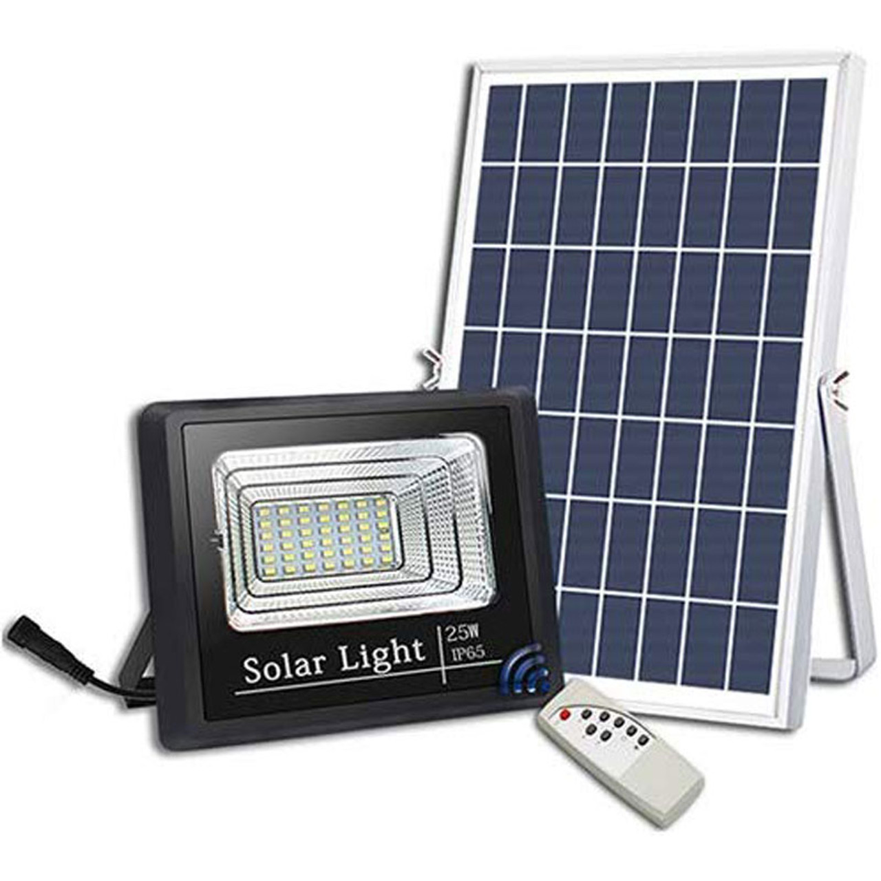 Led Solar Flood Light High Output 25 Watt With Solar Panel Dimmable Timer Remote Control Ip67 6000 Kelvin Five Year Warranty Led Global Supply