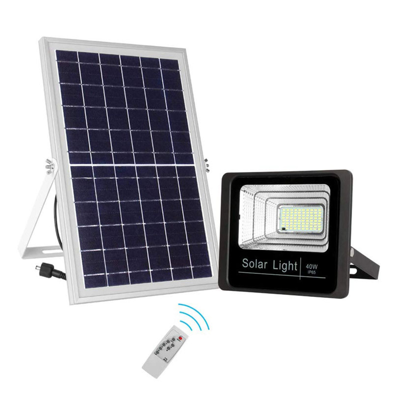 Led Solar Powered 40 Watt High Output Flood Light With Solar Panel Dimmable Dusk To Dawn On Off Sensor Ip67 Five Year Warranty Led Global Supply