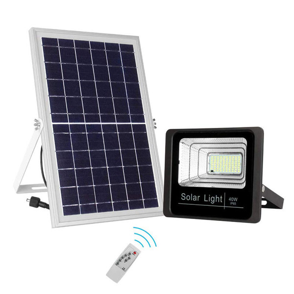 Led Solar Powered 40 Watt High Output Flood Light With Solar Panel Dimmable Dusk To Dawn On Off