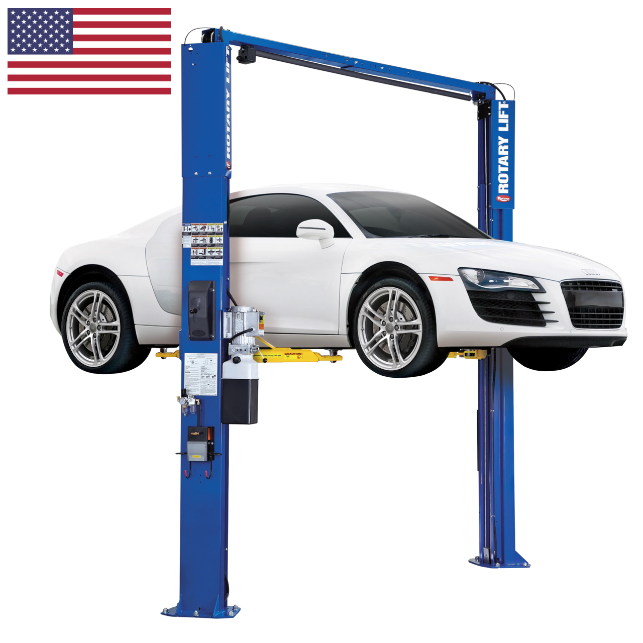 Rotary® SPOA7-LPA Certified Overhead 2-Post Lift (optional work station shown)