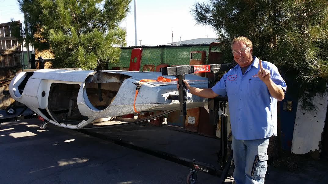 """Rick Dale using The Weaver® Rotisserie to restore the James Bond Lotus Submarine Car from the movie """"The Spy Who Loved Me"""""""