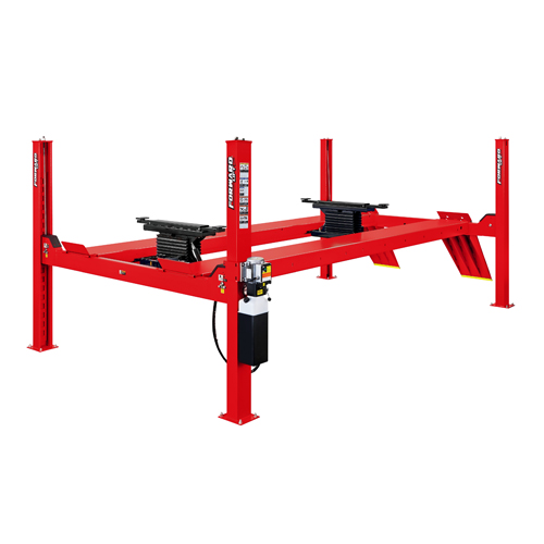 Forward Lift CR-14 4 Post Lift Empty with 2 (Optional) Roller Jacks in Red