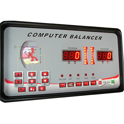 W-957-40 Wheel Balancer Display Panel includes buttons for Dynamic/Static modes, Motorcycle, ALU - Hidden Weight Placement, Wheel Parameters, Self-Calibration and Balancer Functions & Troubleshooting.