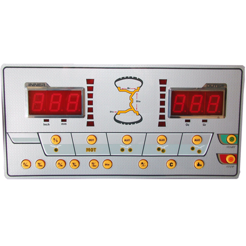 W-937 Wheel Balancer Display Panel includes buttons for Dynamic/Static modes, Motorcycle, ALU - Hidden Weight Placement, Wheel Parameters, Self-Calibration and Balancer Functions & Troubleshooting.