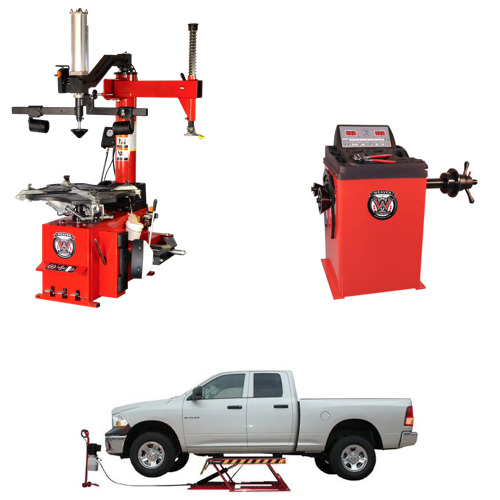 Weaver® Tire Changer / Wheel Balancer / Assist Arm / Car Lift - Quad Combo 1