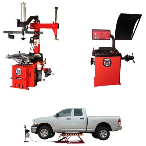 Weaver® Tire Changer / Wheel Balancer / Assist Arm / Car Lift - Quad Combo 2