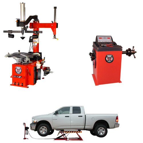 Weaver® Tire Changer / Wheel Balancer / Assist Arm / Car Lift - Quad Combo 3