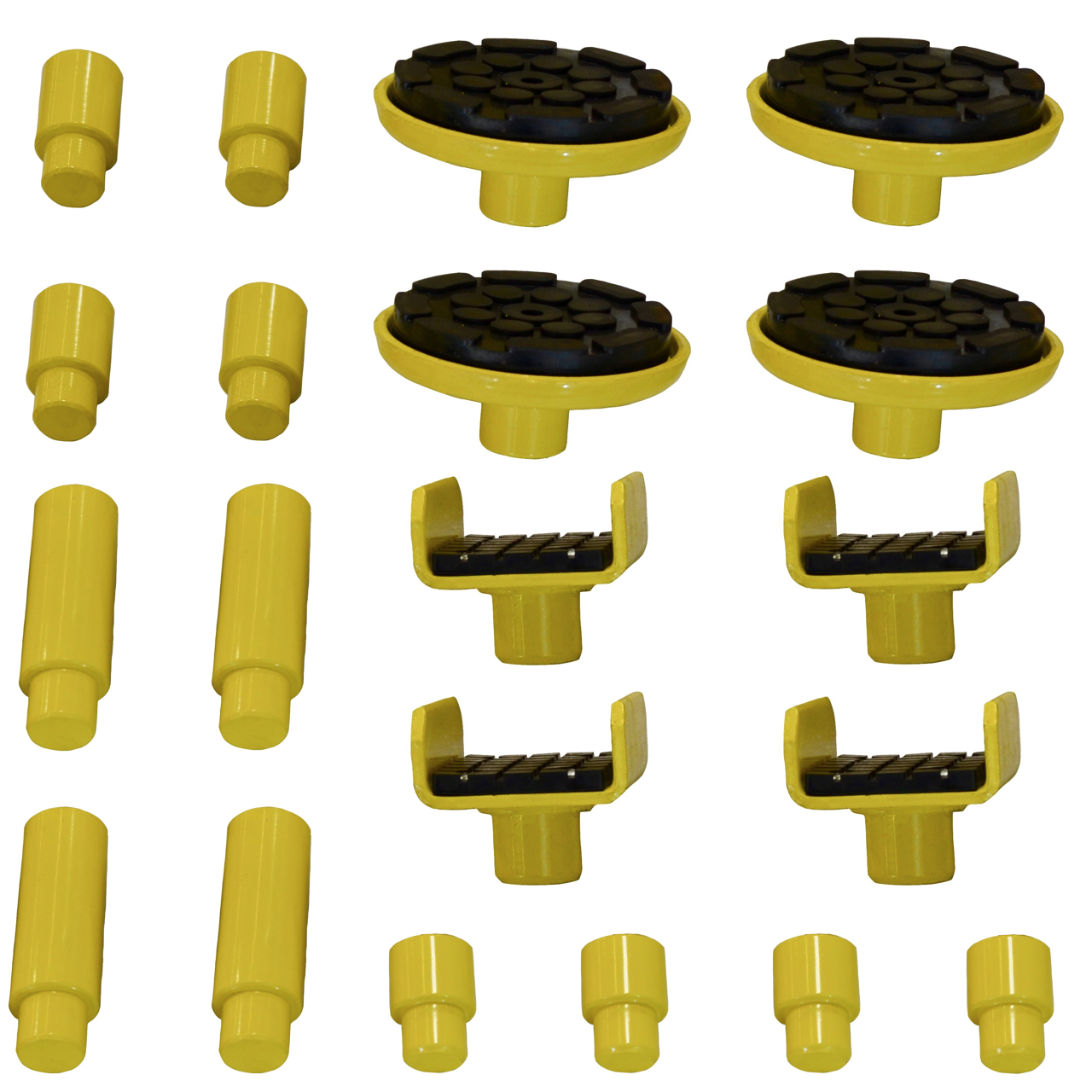 "W9-3D Complete Adapter Set Included - (4 each) 6"", 3"", 1 1/2"" Stack Adapters, Rubber Padded Lift Adapters, U-shaped 3"" Frame Adapters"