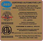 Automotive Lift Institute Gold Label