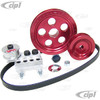 C15-80316R - SCAT SERPENTINE BELT SYSTEM KIT - ANODIZED RED WITH ETCHED TIMING MARKS - 1600CC BEETLE STYLE ENGINES - ALL BILLET ALUMINUM CONSTRUCTION