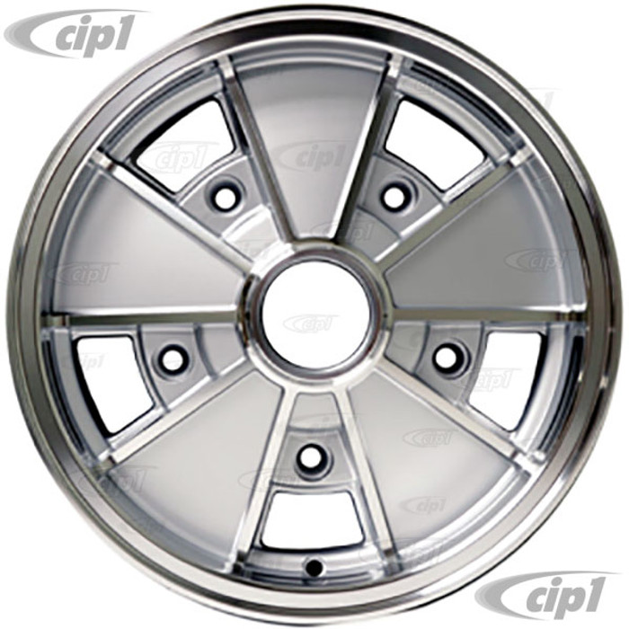 ACC-C10-6660 - BRM REPLICA SILVER 5 SPOKE WHEEL - 15 IN. x 5.5 IN. WIDE - WIDE 5 BOLT PATTERN (5x205MM) CENTER CAP AND MOUNTING HARDWARE IS SOLD SEPARATELY - SOLD EACH