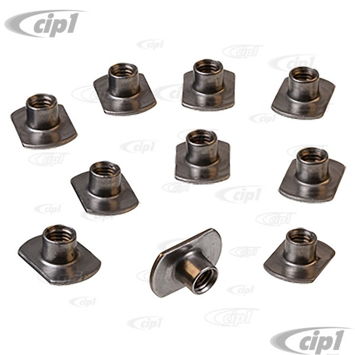 VHD-N114071-SET - GERMAN - SET OF 10 - 8MM PANEL NUT WELD-IN INSERTS- PERFECT FOR REPLACING BEETLE FENDER BOLT THREADS - SOLD SET OF 10