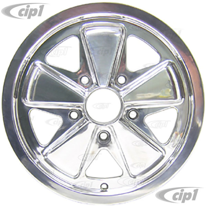 ACC-C10-6646 - 911 STYLE 5 SPOKE ALUMINUM WHEEL - FULLY POLISHED - 4.5 INCH WIDE X 15 INCH DIA. - 5X130MM BOLT PATTERN (4-1/8 INCH BACKSPACE) - CENTER CAP AND HARDWARE SOLD SEPARATELY - SOLD EACH