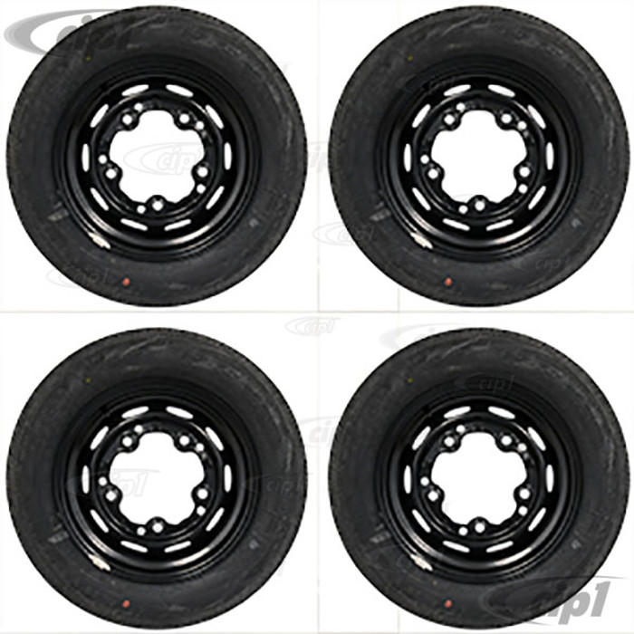 ACC-C10-6621-MB-KIT - SEMI-GLOSS BLACK 5X205 WHEEL AND TIRE PACKAGE (15X5-1/2 - 3-3/4 INCH BACK SPACING) 65/80R15 NANKANG RADIAL TIRES - MOUNTED & BALANCED WITH CHROME VALVE STEMS - SOLD SET