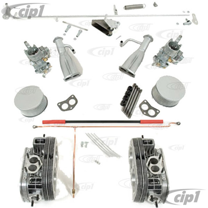 VWC-111-198-700 - DUAL PORT OETTINGER STYLE CYL/HEADS AND DUAL CARB KIT - FOR 25-36HP ENGINES - COMPLETE W/LINKAGE AND AIR CLEANERS ETC.-(A50)