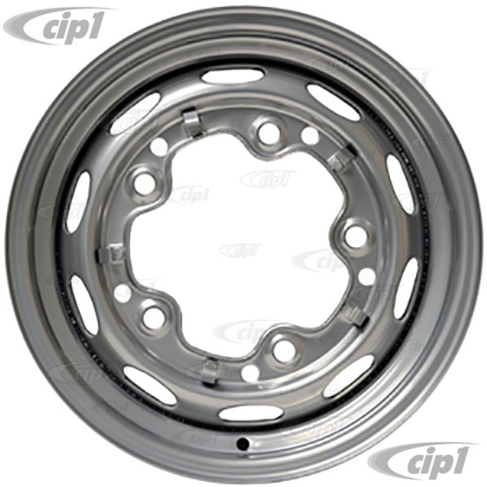 VWC-111-601-025-E - STOCK 5X205MM 5 BOLT STEEL WHEEL - PAINTED SILVER - 15X4-1/2 (3-3/4 INCH BACK SPACING) - BEETLE 52-67 GHIA 56-65 T-3 62-65 - SOLD EACH