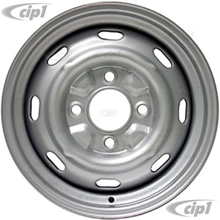 VWC-111-601-025-G - STOCK 4X130MM 4 BOLT STEEL WHEEL - PAINTED SILVER - 15X4-1/2 (4-1/2 INCH BACK SPACING) - BEETLE 68-79 GHIA 67-74 TYPE-3 - SOLD EACH