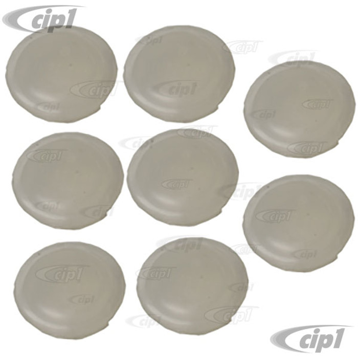 VWC-111-831-449-AC8 - (111831449A) SET OF 8 - DOOR HINGE HOLE COVERS - CLEAR/WHITE PLASTIC - ALL BEETLE 60-79 - SOLD SET OF 8