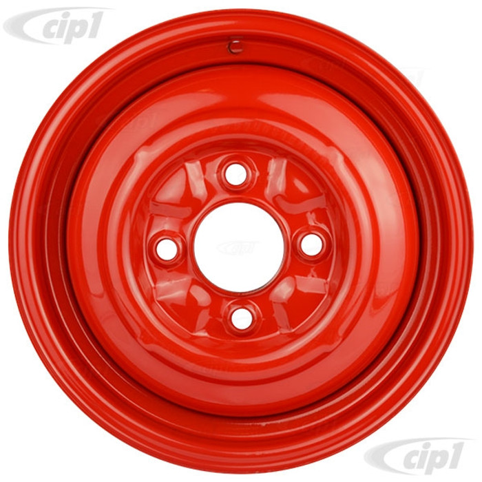 ACC-C10-6622-SMRD - STOCK SMOOTHIE 4X130MM 4 BOLT STEEL WHEEL - HOT ROD RED - 15X4-1/2 (4-1/2 INCH BACK SPACING) HUBCAP SOLD SEPARATELY - BEETLE 68-79 GHIA 67-74 TYPE-3 67-73 - SOLD EACH