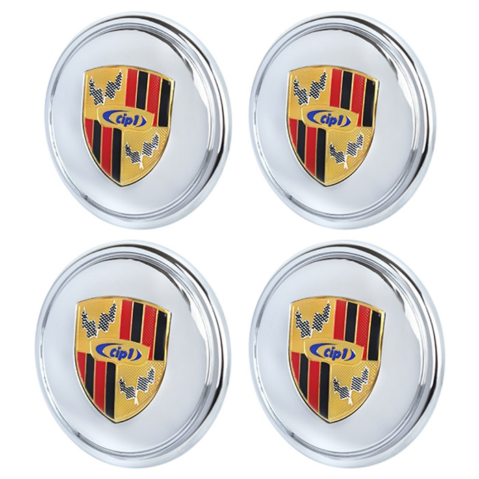 ACC-C10-6602-E4 - SET OF 4 CIP1 CHROMED PLASTIC CENTER CAPS WITH COLORED LOGO CREST FOR 911 STYLE AND GAS-BURNER WHEEL (FIT 70MM DIA. HOLE) - SOLD SET OF 4