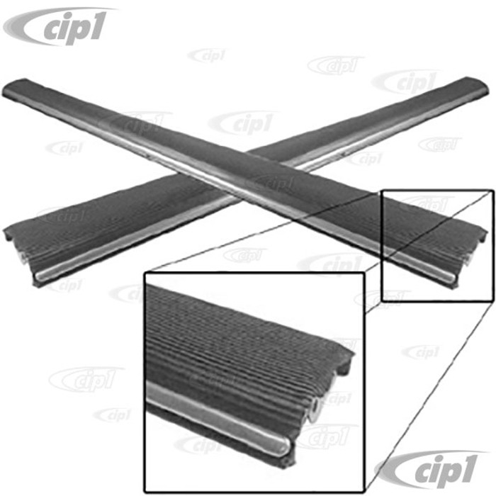 VWC-111-898-509-10 - (111-821-509 111821509) MADE IN MEXICO - PAIR OF HEAVY-DUTY BLACK RUNNING BOARDS WITH 10/18MM CHROME MOLDING (25% HEAVIER THAN STANDARD MEX.) - LEFT AND RIGHT BEETLE 46-79 - SOLD PAIR