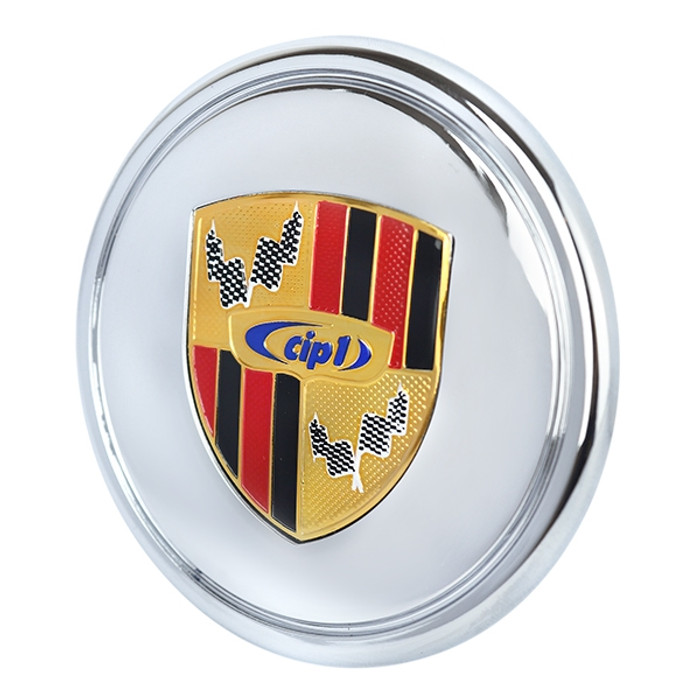 ACC-C10-6602-E - CIP1 CHROMED PLASTIC CENTER CAP WITH COLORED LOGO CREST FOR 911 STYLE AND GAS-BURNER WHEEL (FIT 70MM DIA. HOLE) - SOLD EACH