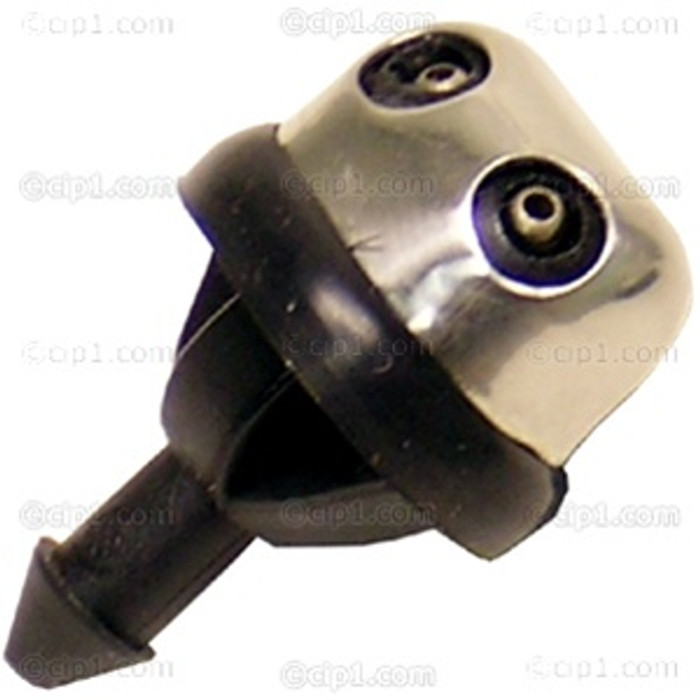 VWC-111-955-993-CHR - STAINLESS STEEL HEAD DUAL JET WINDSHIELD WASHER NOZZLE W/GASKET - BEETLE 61-79 / GHIA 61-74 / TYPE-3 62-74
