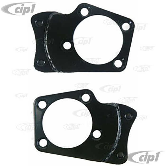 ACC-C10-4100 - PAIR OF STEEL FRONT DISC BRAKE CALIPER MOUNTING BRACKETS WITH 8 CORRECT TAPPERED MOUNTING BOLTS - SUPER BEETLE 71-79 - SOLD PAIR