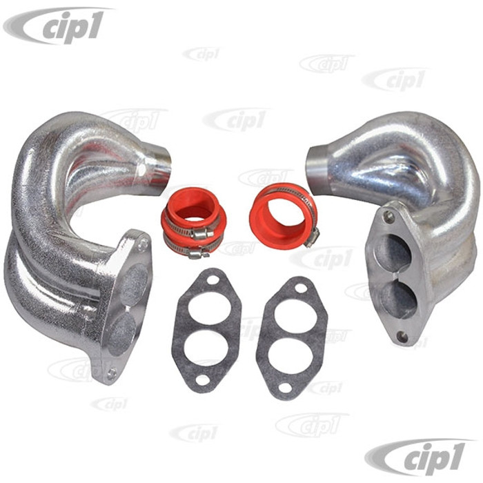 VWC-113-129-709-KT - (113129709) QUALITY REPRODUCTION - DUAL PORT MANIFOLD END CASTINGS ONLY WITH BOOT AND CLAMP KIT - LEFT & RIGHT- ALL 1600CC BEETLE STYLE ENGINES - SOLD PAIR