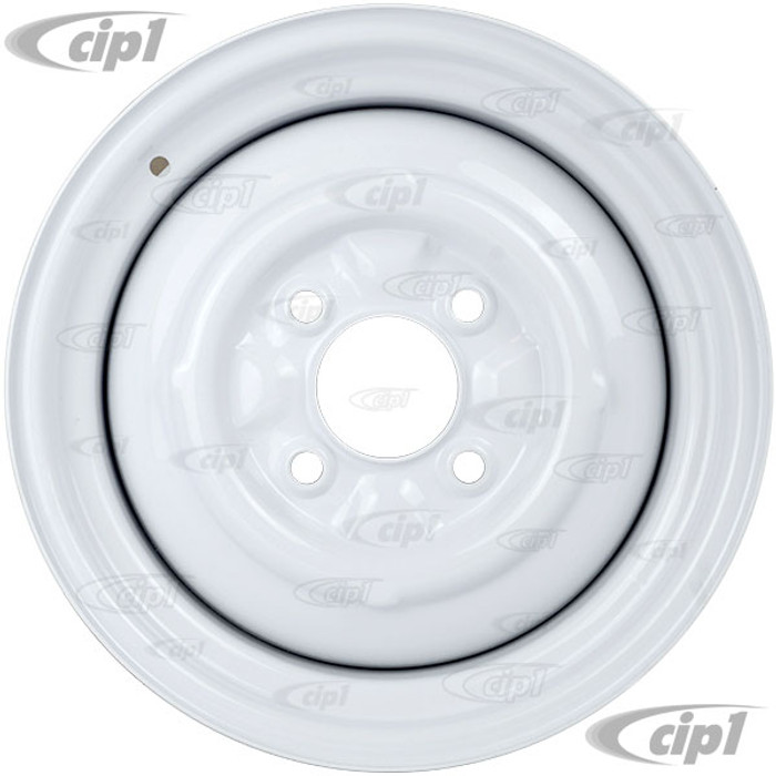 ACC-C10-6623-SMWH - STOCK SMOOTHIE 4X130MM 4 BOLT STEEL WHEEL - PAINTED WHITE - 15X5-1/2 (4-1/4 INCH BACK SPACING) HUBCAP SOLD SEPARATELY - BEETLE 68-79 GHIA 67-74 TYPE-3 67-73 - SOLD EACH