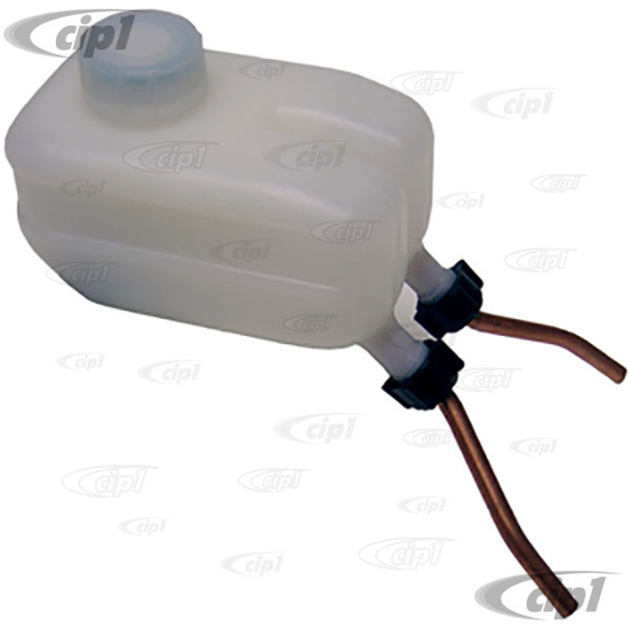 VWC-113-611-301-H - (113611301H) - DUAL CIRCUIT BRAKE FLUID RESERVOIR WITH METAL OUTLET - BEETLE 61-67 / GHIA 61-67 / TYPE 3 62-67 (WHEN LATE MODEL DUAL CIRCUIT M/C IS USED)