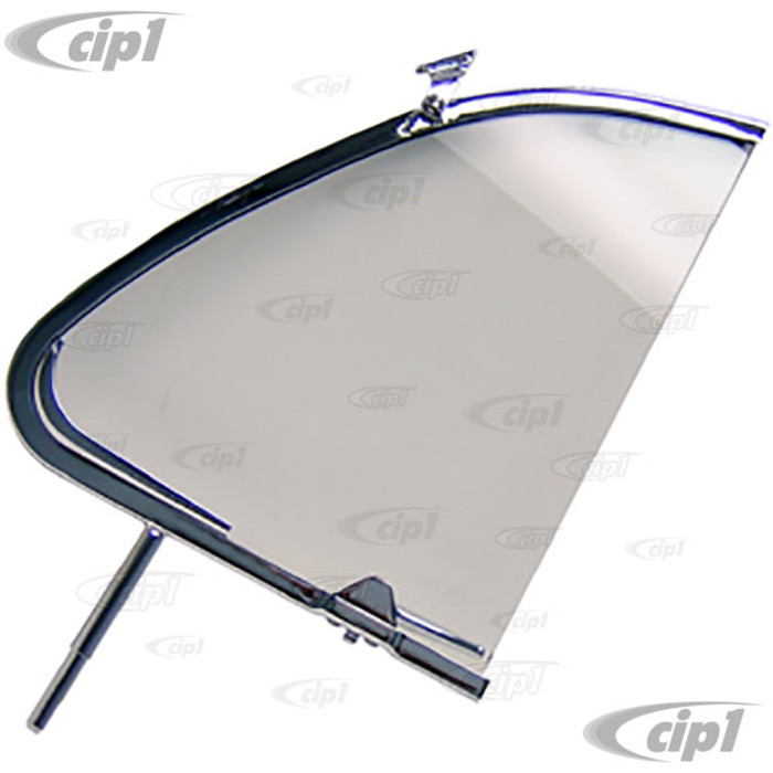 VWC-113-837-605-A - CHROME VENT WINDOW FRAME WITH GLASS AND LATCH - LEFT - BEETLE 56-64