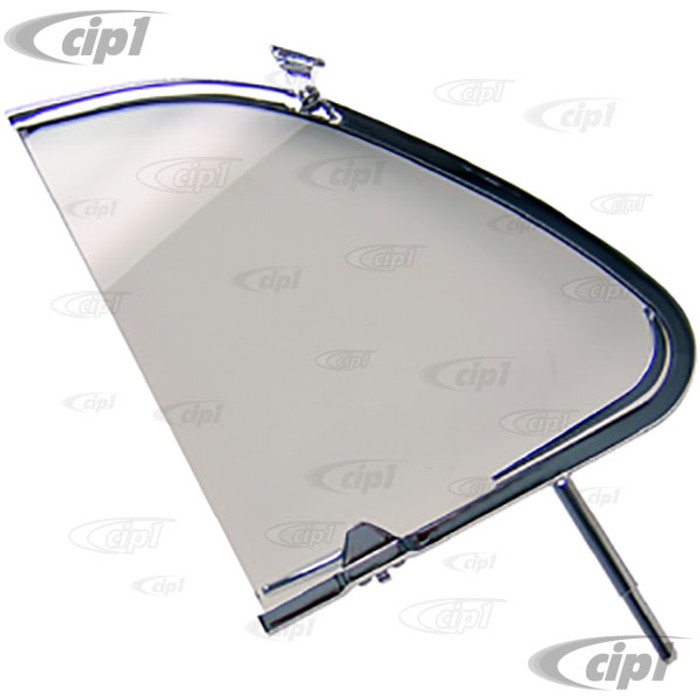 VWC-113-837-606-A - CHROME VENT WINDOW FRAME WITH GLASS AND LATCH - RIGHT - BEETLE 56-64