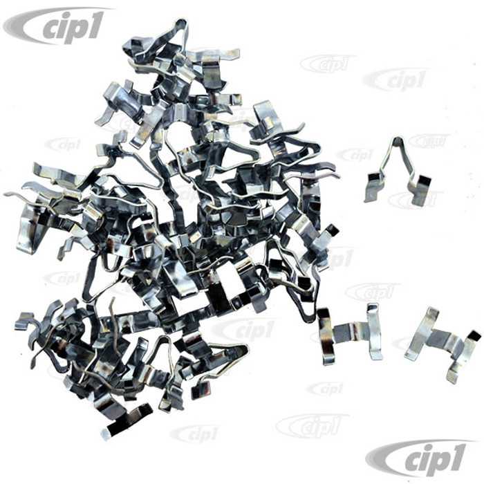VWC-113-853-585-B50 - (113853585B) QUALITY REPRODUCTION - BAG OF 50 METAL BODY MOLDING CLIPS (WILL DO 1 CAR) - BEETLE 46-66/TYPE-3 62-66 - SOLD BAG OF 50