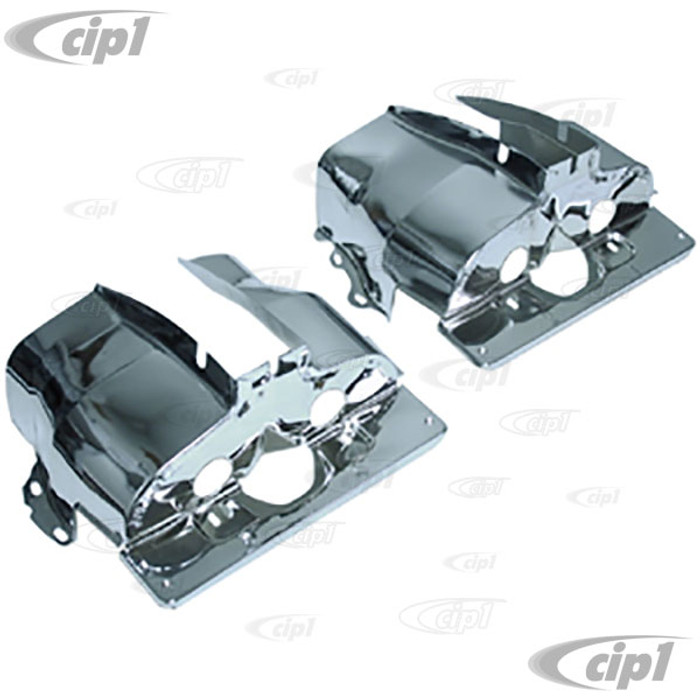 ACC-C10-5443 - EMPI 8878 - CHROME SINGLE PORT CYLINDER SHROUD COVER TINS - ALL BEETLE STYLE 13-1600CC SINGLE PORT ENGINES 66-70 - SOLD IN PAIRS