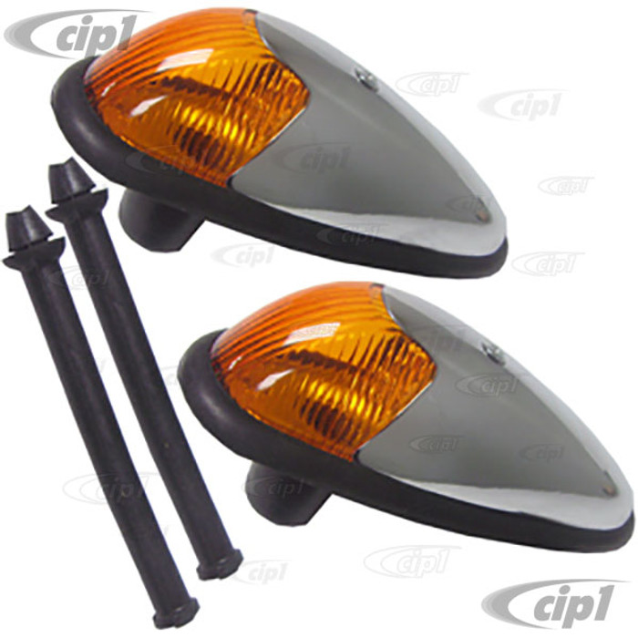VWC-113-953-041-AYPR - COMPLETE FRONT TURN SIGNAL ASSEMBLY W/AMBER LENS - SEAL INCLUDED - GOOD QUALITY - BEETLE 58-63 - SOLD PAIR