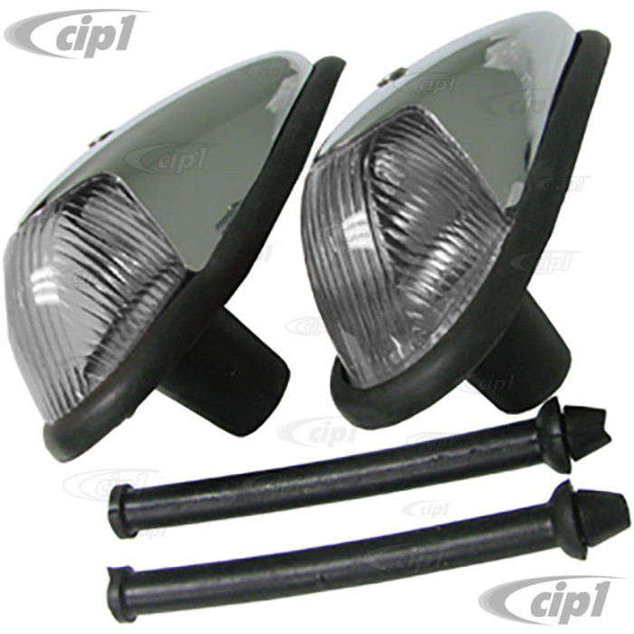 VWC-113-953-041-CPR - COMPLETE FRONT TURN SIGNAL ASSEMBLY W/ CLEAR LENS - SEAL INCLUDED - GOOD QUALITY - BEETLE 58-63 - SOLD PAIR