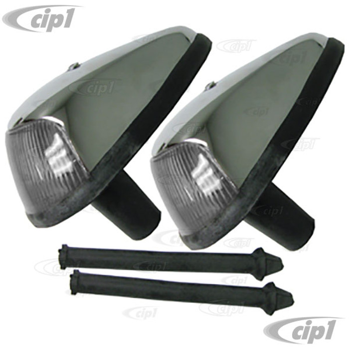 VWC-113-953-041-JCL2 - (113953041J) - GOOD QUALITY - LEFT/RIGHT PAIR OF COMPLETE FRONT TURN SIGNAL ASSEMBLIES - WITH CLEAR LENSES - SEALS INCLUDED - BEETLE 64-67 - SOLD PAIR