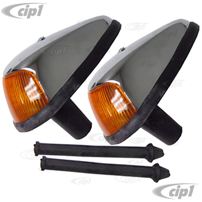 VWC-113-953-041-JPR - GOOD QUALITY - PAIR OF COMPLETE FRONT TURN SIGNAL ASSEMBLIES - W/ AMBER LENS - SEAL INCL. - BUG 64-67 - SOLD PAIR