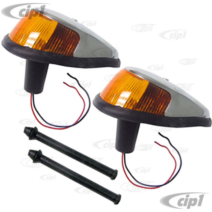 VWC-113-953-041-MYPR - PAIR OF COMPLETE FRONT TURN SIGNAL ASSEMBLIES - W/ DUAL BULB HOLDER - W/AMBER LENS - SEAL INCL. LEFT / RIGHT - BUG 68-69 - SOLD PAIR