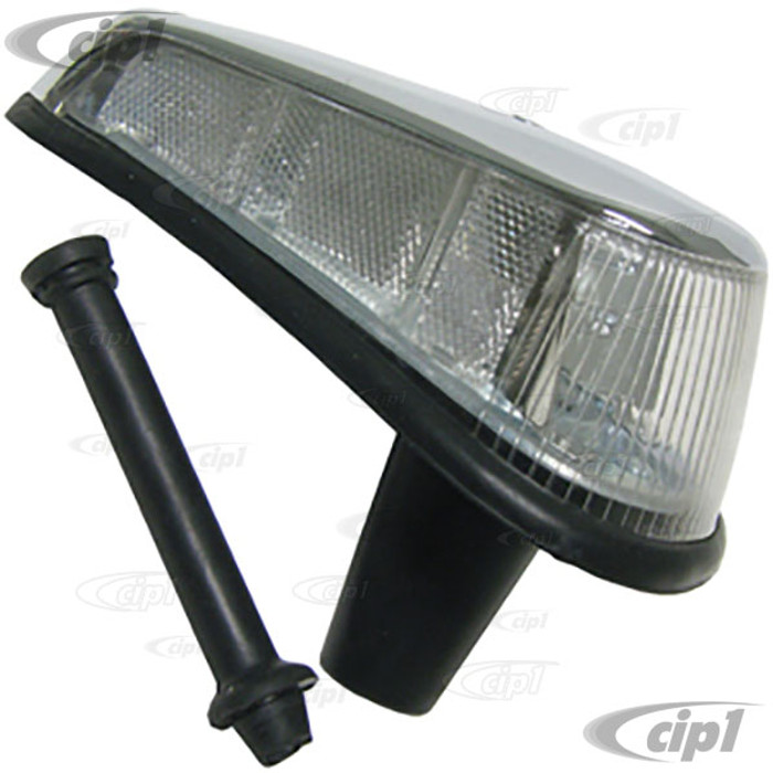 VWC-113-953-042-NCL - (113953042N) GOOD REPRODUCTION WITH METAL HOUSING - COMPLETE FRONT TURN SIGNAL ASSEMBLY WITH CLEAR LENS - RIGHT - SEAL INCLUDED - BEETLE 70-79 - SOLD EACH