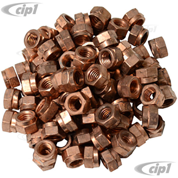 VWC-175-129-650-100 - (EMPI 9525 ACC-C10-5457 175129650) - BAG OF 100 - COPPER PLATED LOCKING EXHAUST NUTS - 8MM X 1.25 THREAD - ALL MODELS - SOLD BAG OF 100