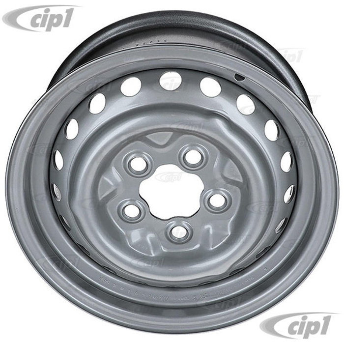 VWC-211-601-027-H - (211601027H) - GENUINE QUALITY - STOCK STEEL 14 X 5.5 INCH WIDE - 5X112MM BOLT PATTERN - PAINTED GREY -  WHEEL BUS 71-79 / VANAGON 80-91 - SOLD EACH