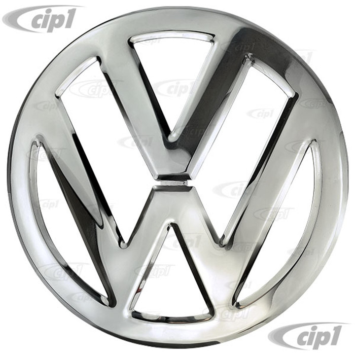 VWC-211-853-601-AST - (211853601A) REPRODUCTION - POLISHED STAINLESS STEEL FRONT NOSE EMBLEM (THIS IS A SECOND QUALITY-SEE NOTES BELOW) - BUS 52-67 - SOLD EACH