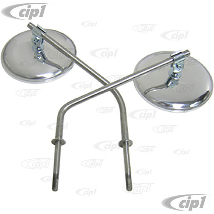 VWC-211-898-513-KIT - (211857513 211-857-513) COMPLETE OE QUALITY OUTSIDE MIRROR KIT - INCLUDES ROUND MIRRORS - ARMS AND CLAMPS - FOR BOTH LEFT AND RIGHT SIDES - BUS 50-67 - SOLD SET