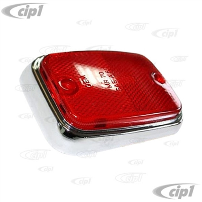 VWC-211-945-363-A - (221-363A-LR S24567 211945363A) - GERMAN QUALITY FROM C&C U.K. - REAR SIDE MARKER REFLECTOR RED WITH CHROME TRIM - LEFT OR RIGHT - BUS 70-74 (WILL FIT 75-79) - SOLD EACH